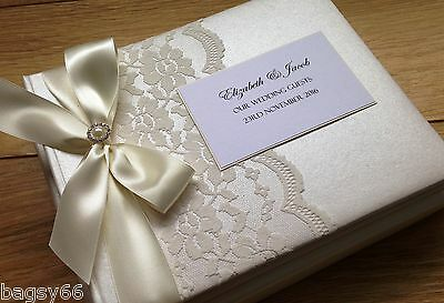Wedding Guest Book Personalised Vintage Lace Boxed Ivory Engagement Large Luxury