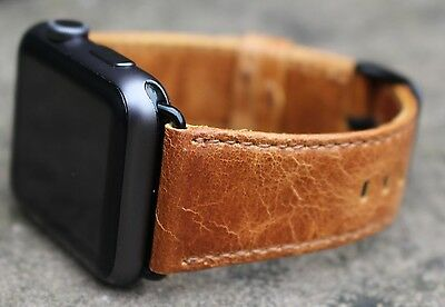 Quality Vintage Orange Leather Watch Strap Band for Apple Watch Series 1 2 42mm