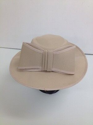 Kangol - Vintage Formal Beige Bow Boater Polyester Hat -  Size Small