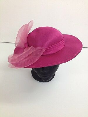 Mitzi Lorenz - Vintage Bright Pink with Bow Detail Boater Hat - Size Small