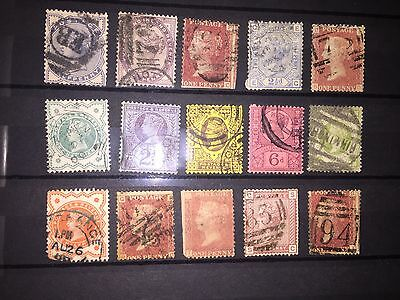 GB used stamps QV selection  in mixed condition see scan