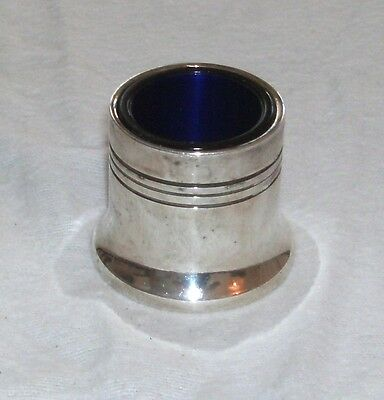 Early Silver Plated Salt With Cobalt Blue Glass Liner In Good Condition