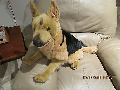 "VINTAGE -  Plush Stuffed  ""GERMAN SHEPARD""  with wired front legs"