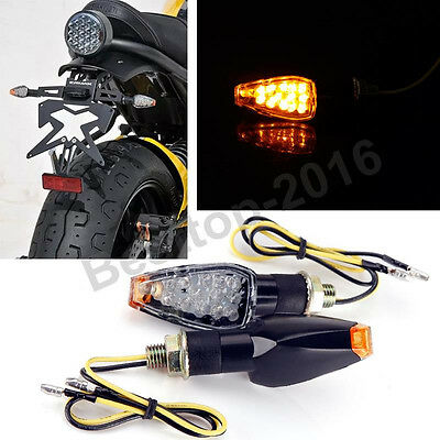 2X Universal Motorcycle Black LED Turn Signal Blinker Light Indicator Amber Lamp