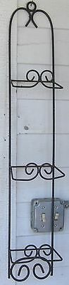 Vintage Plate Rack Wall Mounted Black Wrought Iron Plate Holder 3 Plate Spaces