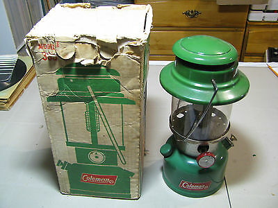 Coleman model 335 Lantern Lamp Camping Gas Green dated 02/71 with original box