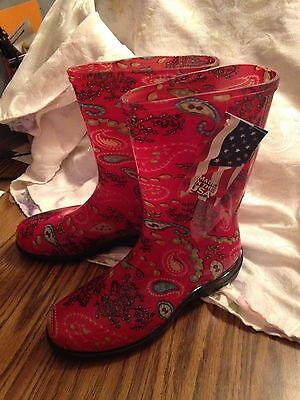 Sloggers Women'S Tall Rain And Garden Boots Paisley, Red Size 10
