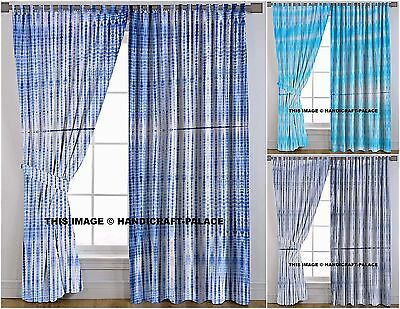 Indian Shibori Curtains Hand Tie Dye Door Drapes & Valances Room Divider Curtain