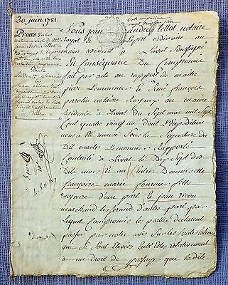 France  Revenue -1781 -Very old notarial deed of Tours ( Province of touraine )