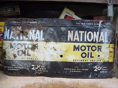 NATIONAL MOTOR OIL steel CAN 5 QUART tin METAL SERVICE STATION FLATENED