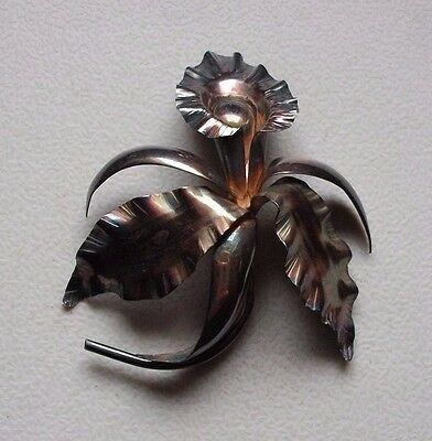 Large sterling silver orchid brooch