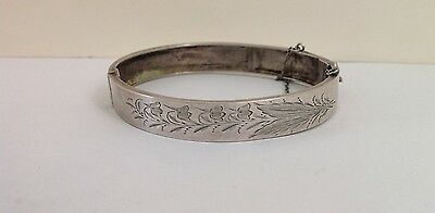 Antique 800 Silver Hinged Bangle Bracelet With Engraved Lily Of The Valley