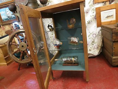 glazed stripped antique pine display cabinet