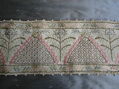 Antique Hand Embroidered Silk on wool panel trim Metalic thread Beehive & Flower