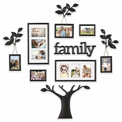 12 piece picture photo frame set family tree collage black wall art home decor