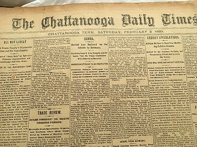 Chattanooga, Tenn. Feb, 1889 Antique Newspapers, Approx. 48 Pages