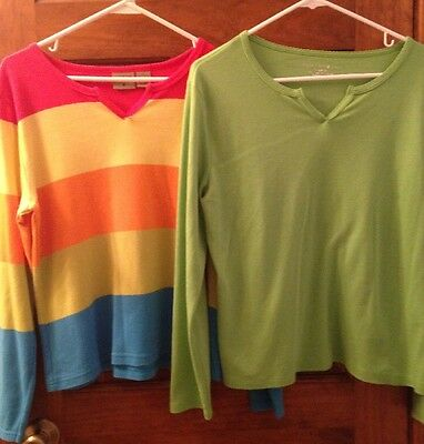 Lot Of 2 Women's Large Knit Colorful Tops By Mountain Lake: Rainbow & Lime Green