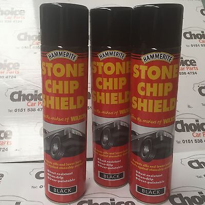 3 x Hammerite Waxoyl Stone Chip Shield 600ml Black Spray Aerosol
