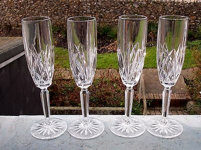 Set Of4 Waterford Crystal Champagne Flutes 'marquis'