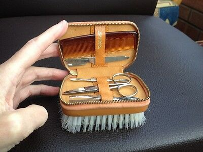 Vintage Travel Clothes Brush & Manicure Set in Real Leather Case