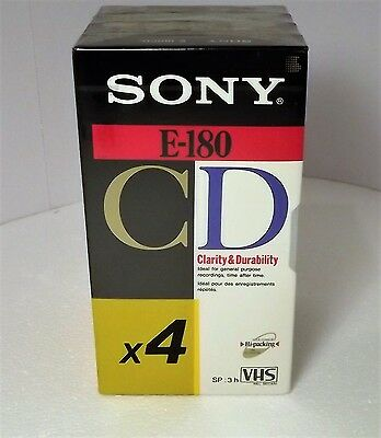 SONY E-180 CD SP 3hr VHS Tapes Set of 4