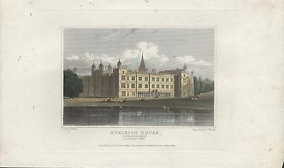 BURLEIGH HOUSE, NORTHAMPTONSHIRE - 19th CENTURY HAND COLOURED ENGRAVING c.1820