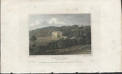 MIDDLE HILL, WORCESTERSHIRE - ORIGINAL 19th CENTURY HAND COLOURED ENGRAVING 1826