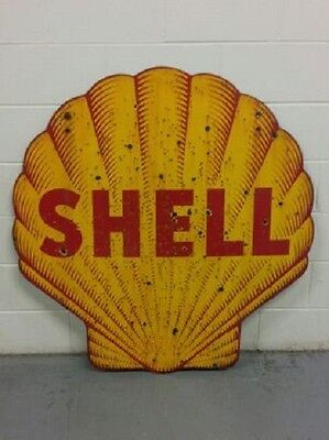 """EX. RARE 40's Original SHELL """"Tiger Stripe"""" Double Sided Porcelain Sign OIL/GAS"""