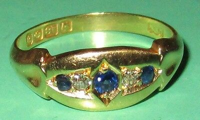 Antique Victorian (1900) 18Ct Yellow Gold Sapphire And Diamond Gypsy Ring Size N
