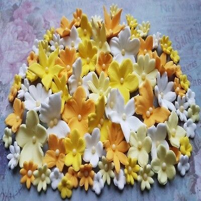 60 Edible sugar flowers butterflies cake cupcake toppers decorations Yellow