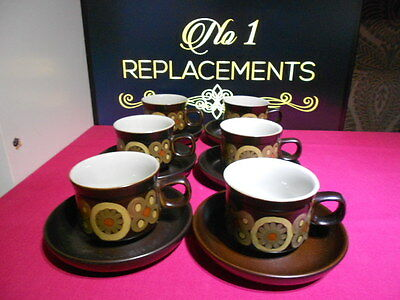 6 x Denby Arabesque Tea Cups and Saucers 4 Sets Available