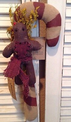 Pearson's Simply Primitive Gingerbread Sweets Candy Cane Wall Hanger Christmas