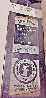 RARE Martin KAM-ACT MK-2 Camming Action Bow 1975 RH Martin Family Collection