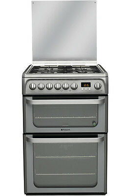 Hotpoint Ultima HUD61GS - 60cm Dual Fuel Cooker Double Electric Ovens & Gas Hob