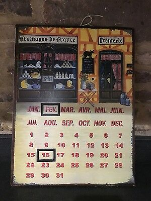 Reproduction French Themed Perpetual Tin Calander magnetic date select