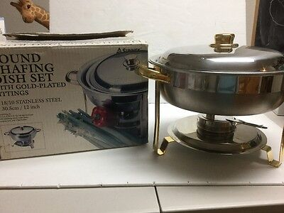 *sale!!**sunnex 3.85Qt Stainless Steel Chafing Dish W/gold Plated Handles & Lid