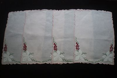 4 Vintage Hand Embroidered Madeira Cocktail Napkins   Condition Excellent, used.