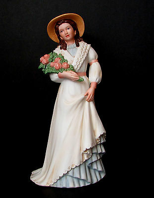 Homco #1468 Porcelain Lady w/Roses Victorian White and Blue Dress w/ Bonnet 8.5""