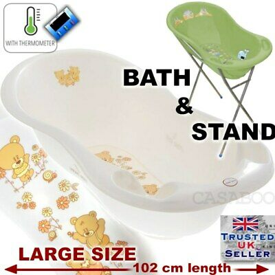 LUX Large Baby Bath baby Tub  with Stand + thermomether 102 cm White pearl TEDDY