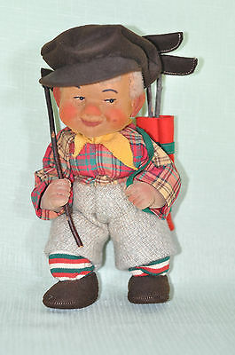 "Antique Stockinette West German Cloth tagged KIS Golfer Doll  9""in."