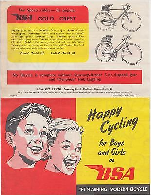BSA Cycle Bicycle Catalogue Brochure with Price List 1959