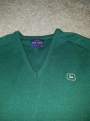 Vintage John Deere Pine State XL Green Sweater VTG Tractor Made in the USA