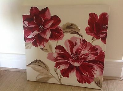 """Red Floral Canvas Wall Art Picture 20"""" X 20"""""""
