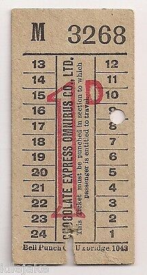 Chocolate Express Omnibus Co 1d Bus Ticket