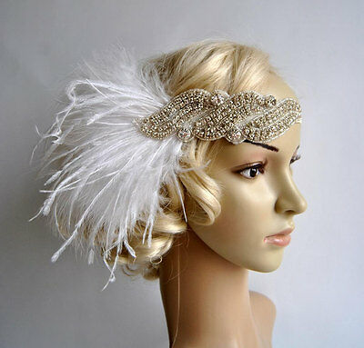 White Rhinestone Feather Headpiece Vintage Headband Flapper 1920s Great Gatsby