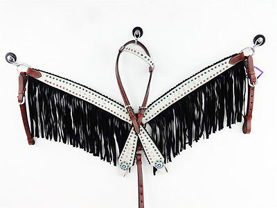 One Ear Headstall Leather Western Horse Tack Bridle Black Fringe Breastcollar