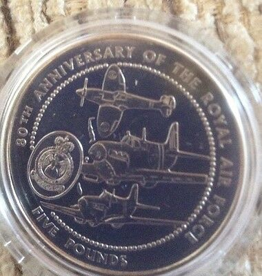 80th anniversary of the royal air force 5 pounds guernsey  coin