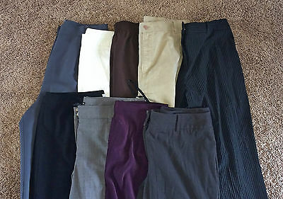 LOT A 9 Pairs Women's Designer Career Dress Pants Slacks Trousers 12 LARGE L EUC