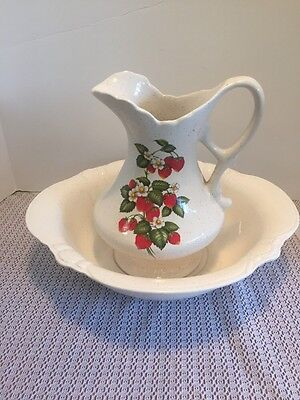 Vintage Treasure Craft Ceramic Pitcher and Wash Bowl Set