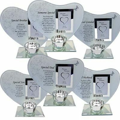 New Remembrance Memorial Candle Holder Glass Photo Frame Grave Funeral Keepsake